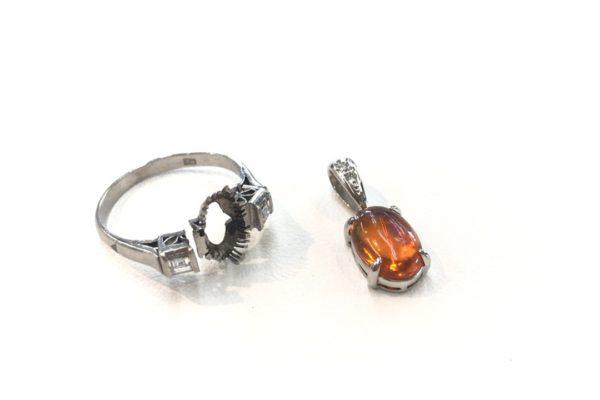 ファイヤーオパールの指輪をペンダントに作り変え