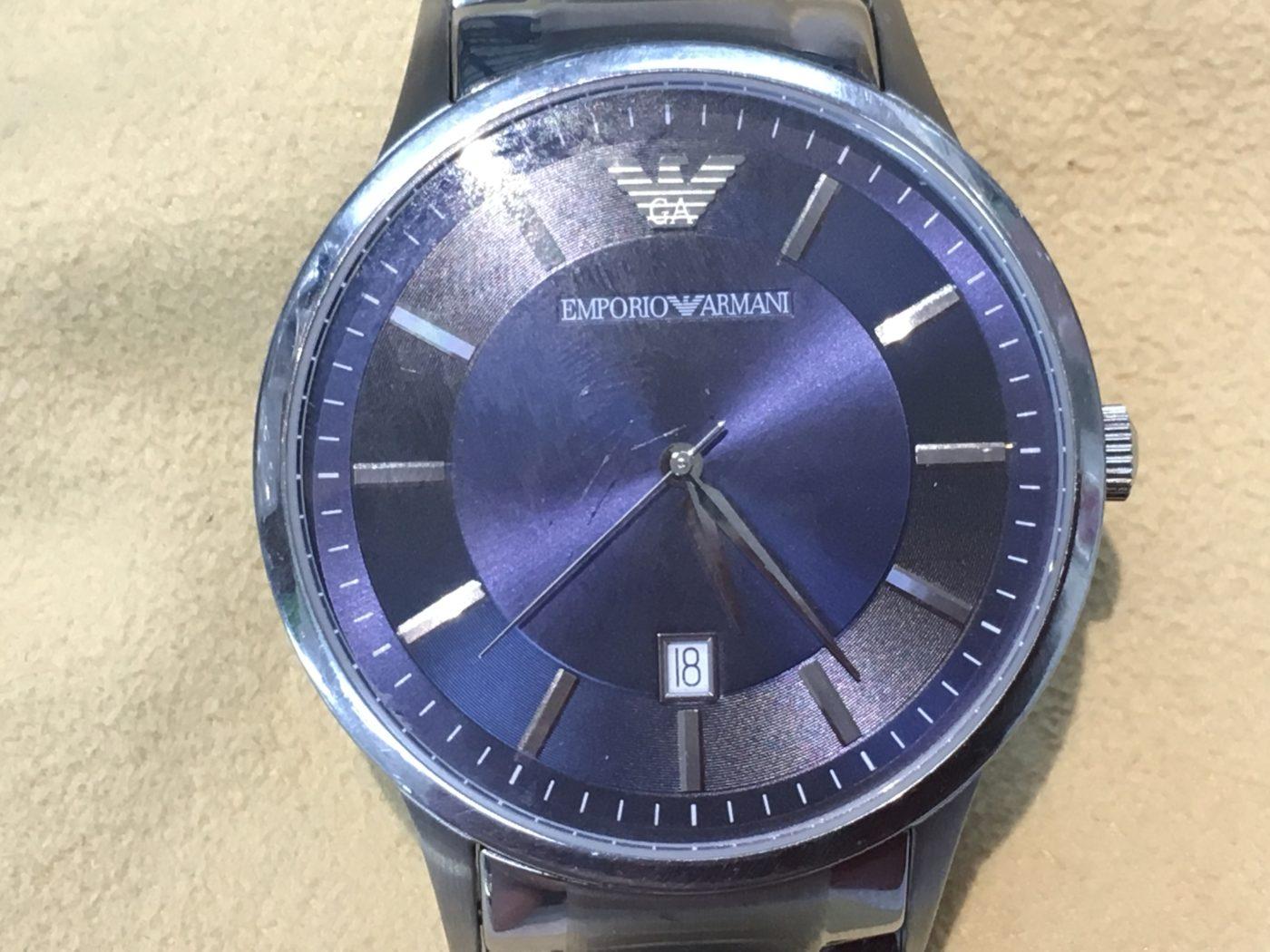 Eアルマーニ 腕時計 電池交換 オプトナカムラ