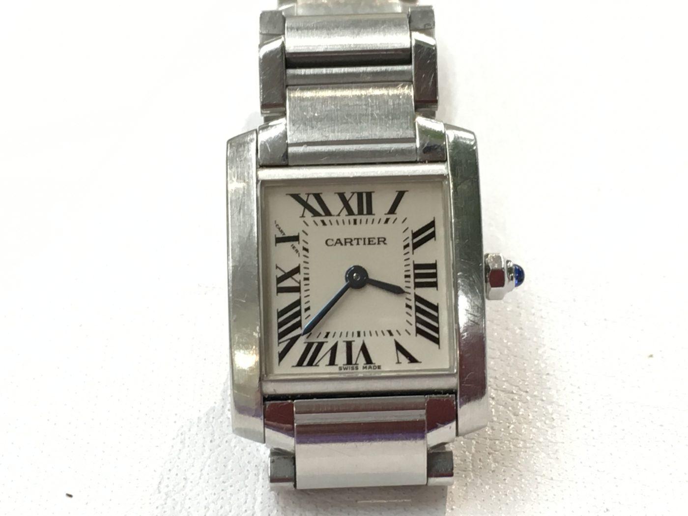 カルティエ タンクフランセーズ 腕時計電池交換 金額 修理