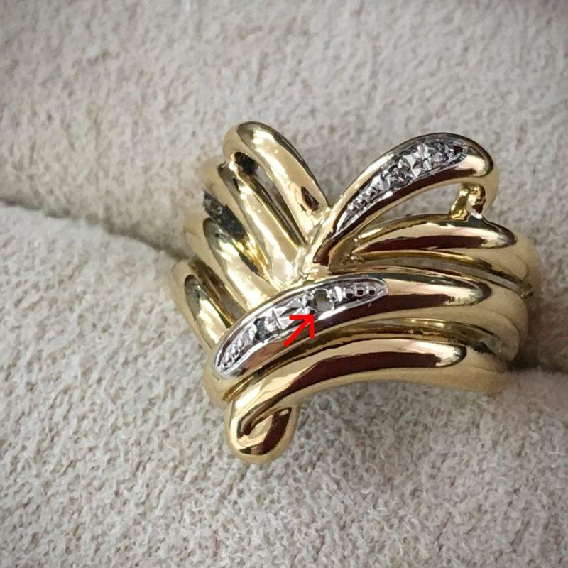 指輪の修理 ダイヤ取れた 爪留め