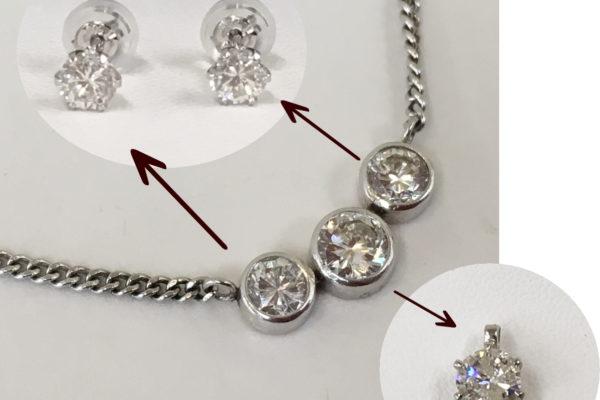 スリーストーンダイヤモンドネックレスのリフォーム
