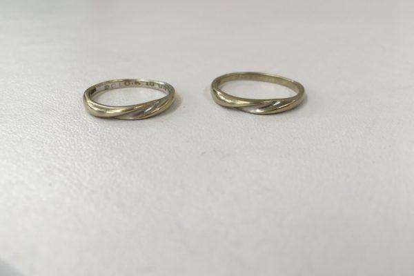 都留市にお住いのW様より18金ホワイトゴールドの指輪のロジウムコーティングを承りました。