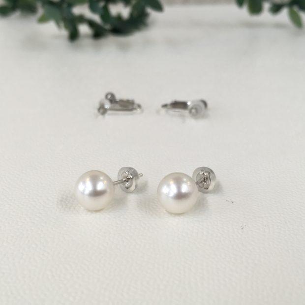 真珠(パール)のイヤリングをピアスに作り替え AFTER