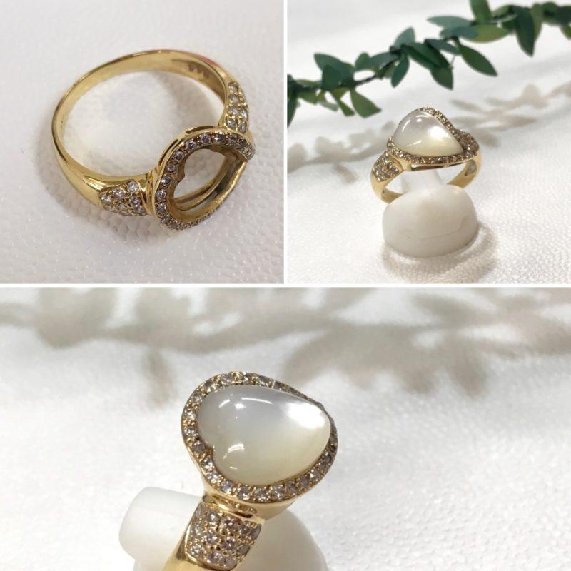 白蝶貝の指輪の修理
