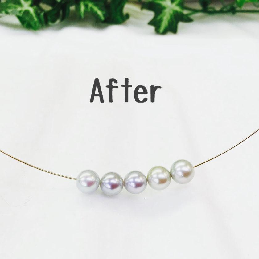 余った真珠を使ってネックレスを