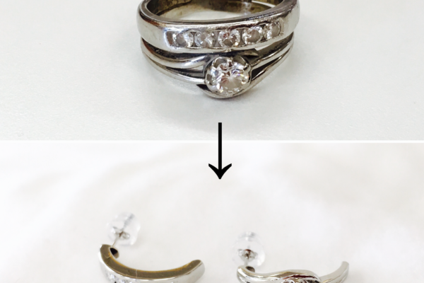 指輪をピアスにリフォーム