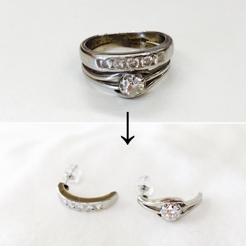 指輪をピアスに山梨県のオプトナカムラでリフォーム