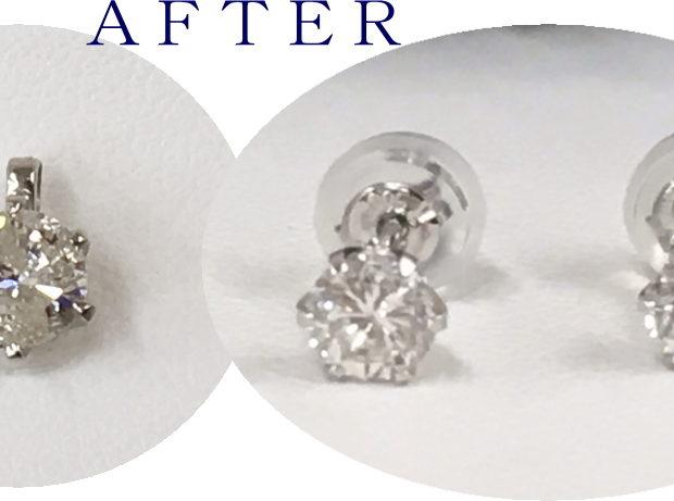 スリーストーンダイヤモンドネックレスのリフォーム AFTER