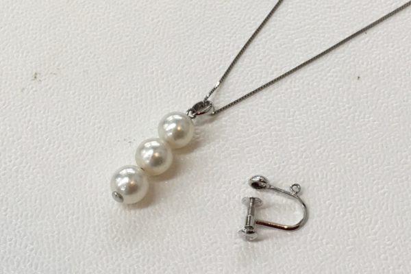 片方だけになってしまった真珠のイヤリングをペンダントに作り替え