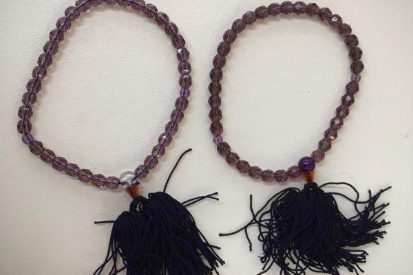 忍野村にお住いのO様より紫水晶念珠の作り替えを承りました。