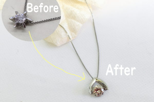 立てツメダイヤペンダントをダンシングストーンダイヤネックレスに作り替え